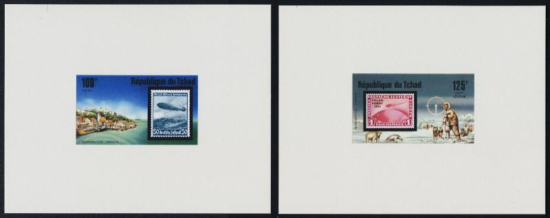 Chad 327,C206-9 deluxe sheets MNH Aircraft, Zeppelin, Dogs, Stamp on Stamp