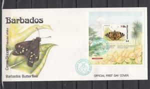 Barbados, Scott cat. 811. Painted Lady Butterfly s/sheet on a First day cover. ^