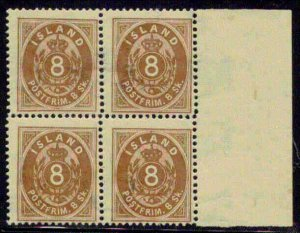 ICELAND #3 (3) 8sk, og, NH, margin Block of 4, rare, ex. Swanson, Facit $4,200.