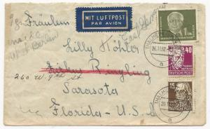Germany DDR Scott #56 #131 #126 on Cover FWD to Florida USA November 26, 1952