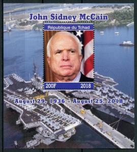 Chad 2018 CTO US Senator John McCain 1v M/S Politicians Famous People Stamps