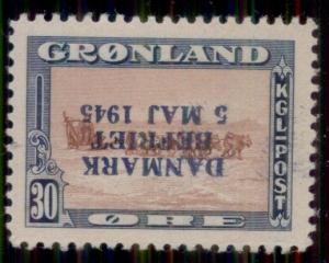 GREENLAND #24v 30ore Dog Sled, INVERTED OVPT - only 400 made, XLH, Scott $1,200