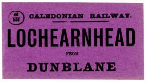 (I.B) Caledonian Railway : Parcel Label (Lochearnhead to Dunblane)