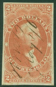 EDW1949SELL : USA 1862 Scott #R82a Very Fine Used. Tiny margin tear Catalog $150
