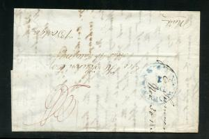 UNITED STATES 1839  NEW ORLEANS LA  STAMPLESS  COVER TO BOSTON MASS