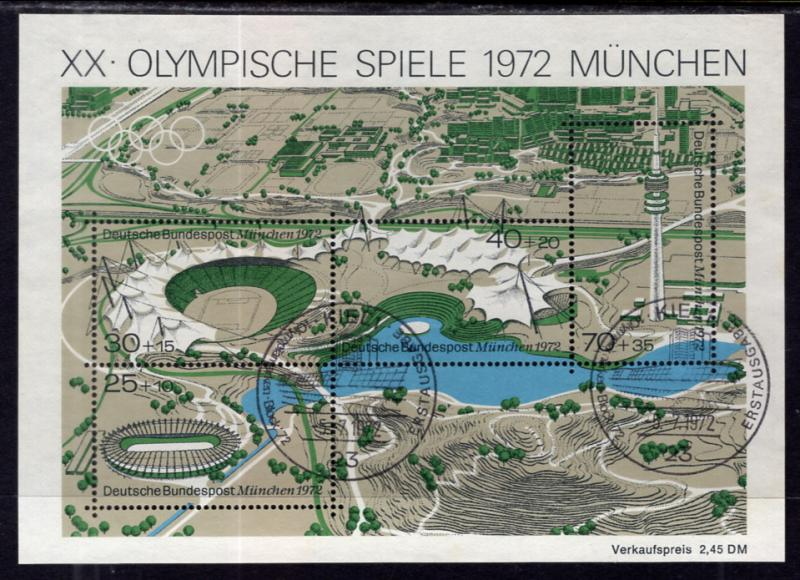 Germany B489 Olympics Souvenir Sheet Used VF