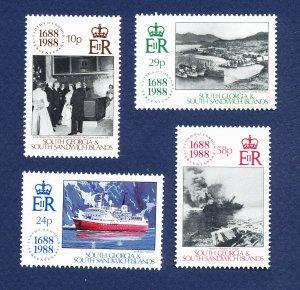 SOUTH GEORGIA   - # 131-134 - VFMNH - Lloyds of London, ships -