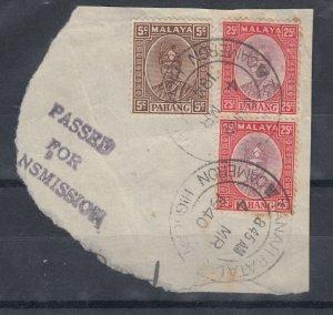 Malaya Pahang 1940 25c x 25c On Piece Superb CDS J8325