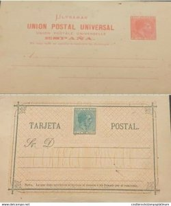 A) POSTAL STATIONARY CARIBBEAN, COLONIAL PERIOD, ALFONSO XIII, WITH ERRORS IN