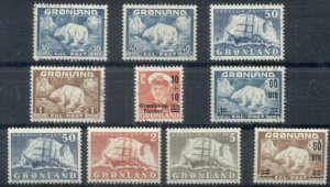 GREENLAND #7//40,B2, Group of 8, used and LH, VF, Scott $186.35