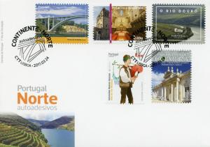 Portugal 2017 FDC North 5v S/A Cover Bridges Cathedrals Rivers Tourism Stamps