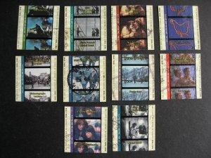 Cinema in Canada set of 10 U singles Sc 1615a-e, 1616a-e