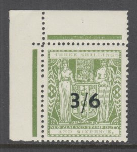 New Zealand Sc AR71 MNH. 1940 3/6p on 3/6p dull green Postal Fiscal, XF