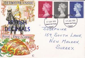 GB 1970 British Decimals Definitive Issue FDC Kingston Upon Thames CDS VGC