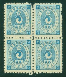 KOREA 1900  Yin Yang  2ch blue  - Perf. 10 - Scott # 20  mint MNH block of 4