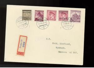 1939 Bohemia Moravia register Cover 8 not B variety