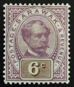 Malaya 1888 Sarawak Sir Charles Brooke 6c MH SG#13 CV £32 M1685
