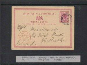 SIERRA LEONE POSTAL STATIONARY CARDS TO PORTRUSH IRELAND 1881