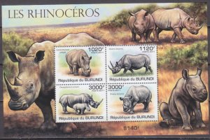 Burundi MNH S/S B168 Rhinoceroes 2011 SCV 15.00