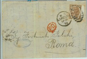 BK0758 - GB - POSTAL HISTORY - SG # 122 on COVER from LONDON to ITALY 1872
