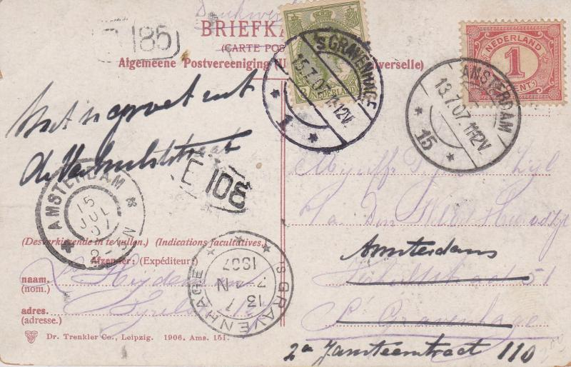 Netherlands 1907 Color View Card A-Dam to Gravenhage & Forwarded back to A-Dam