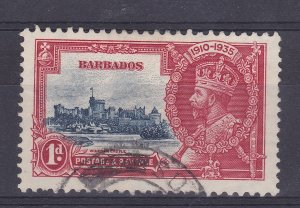 DB347) Barbados 1935 Jubilee 1d deep blue & scarlet SG241 with variety