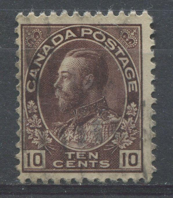 Canada #116a 10c Brown Purple 1911-27 Admiral Issue Fine Mesh F-70 Used