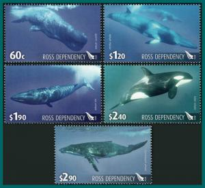 Ross Dependency 2010 Whales, MNH L114-L118,SG120-SG124