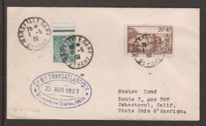 France Sc 360, B60 on 1939 PAQUEBOT Cover to US, violet oval ship cachet
