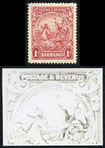 Barbados SG231 1d Scarlet Re-entry above ENUE M/M