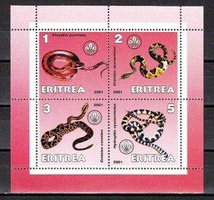 Eritrea, 2001 Cinderella issue. Snakes sheet of 4. *
