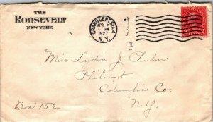 The Roosevelt NYC NY > Philmont NY 1927 hotel cachet cover