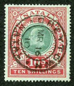 Natal SG170 10/- Postage Revenue Green and Red/Green Dull Blue and Rose SUPERB