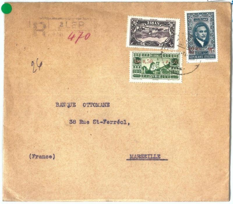 71131 - SYRIA - POSTAL HISTORY -   REGISTERED COVER  to FRANCE  1938