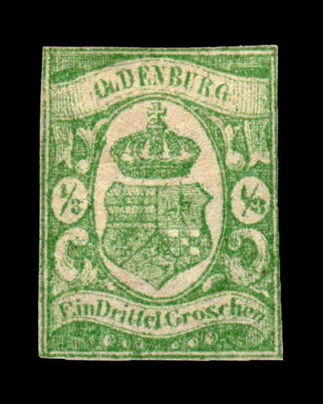 VINTAGE:GERMANY-OLDENBURG 1861 UNU PH  SCOTT #10 $475 LOT #4579UJ