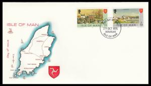 ISLE OF MAN 1975 Definitives 13p 11p 29 October 1975 Mercury FDC