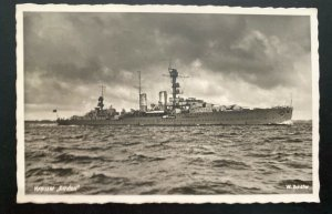 1939 Germany RPPC Real Picture Postcard Cover To Augsburg Cruiser Ship Emdem