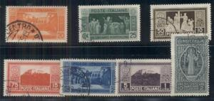 ITALY #232-8 Abbey of Monte Cassino, complete set, used, VF, Scott $618.20
