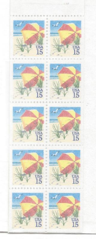 United States, 2443a, Beach Umbrella Booklet Pane(10), MNH