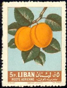 Fruit, Apricots, Lebanon stamp SC#C359 used