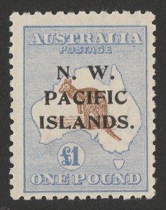 NEW GUINEA - NWPI : 1918 Kangaroo £1, 3rd wmk. MNH **. RARE 960 PRINTED!