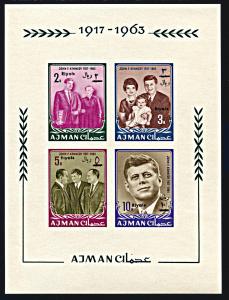 Ajman Michel Block 9B, MNH imperf., Revalued John F. Kennedy souvenir sheet