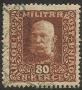 BOSNIA HERZEGOVINA  Austria 1916 Sc 98 Used 80h orange brown