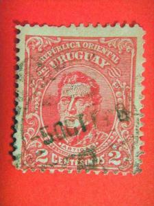 URUGUAY, 1910, used 2c. red , Head of Artigas