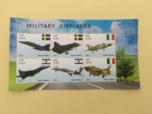 Guinea 2011 M/S Militay Airplanes Transport Aircraft Flight Aviation Stamps (4)