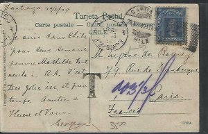 CHILE  (P3108B) 1909   COLUMBUS 5C ON PPC SANTIAGO TO PARIS TAXED