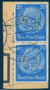 Germany Hindenburg POL Lochung Police Perfin Official Used 93931