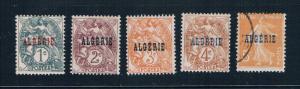 Algeria 1-5 MU France overprint 1924 (A0414)