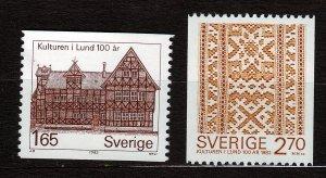 J23066 JLstamps 1982 sweden mnh set #1408-9 designs