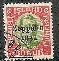Iceland C 9 Used 1931 30a red & grn Zeppelin CV $175.00